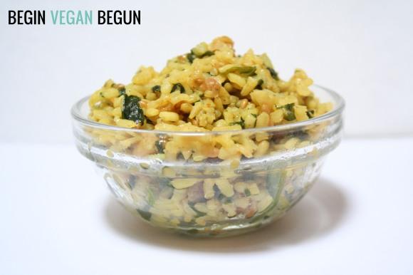 arroz con espinacas vegano